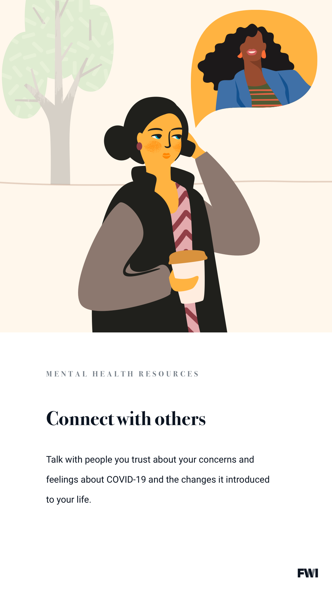 Connecting with others mental health tip vertical content download