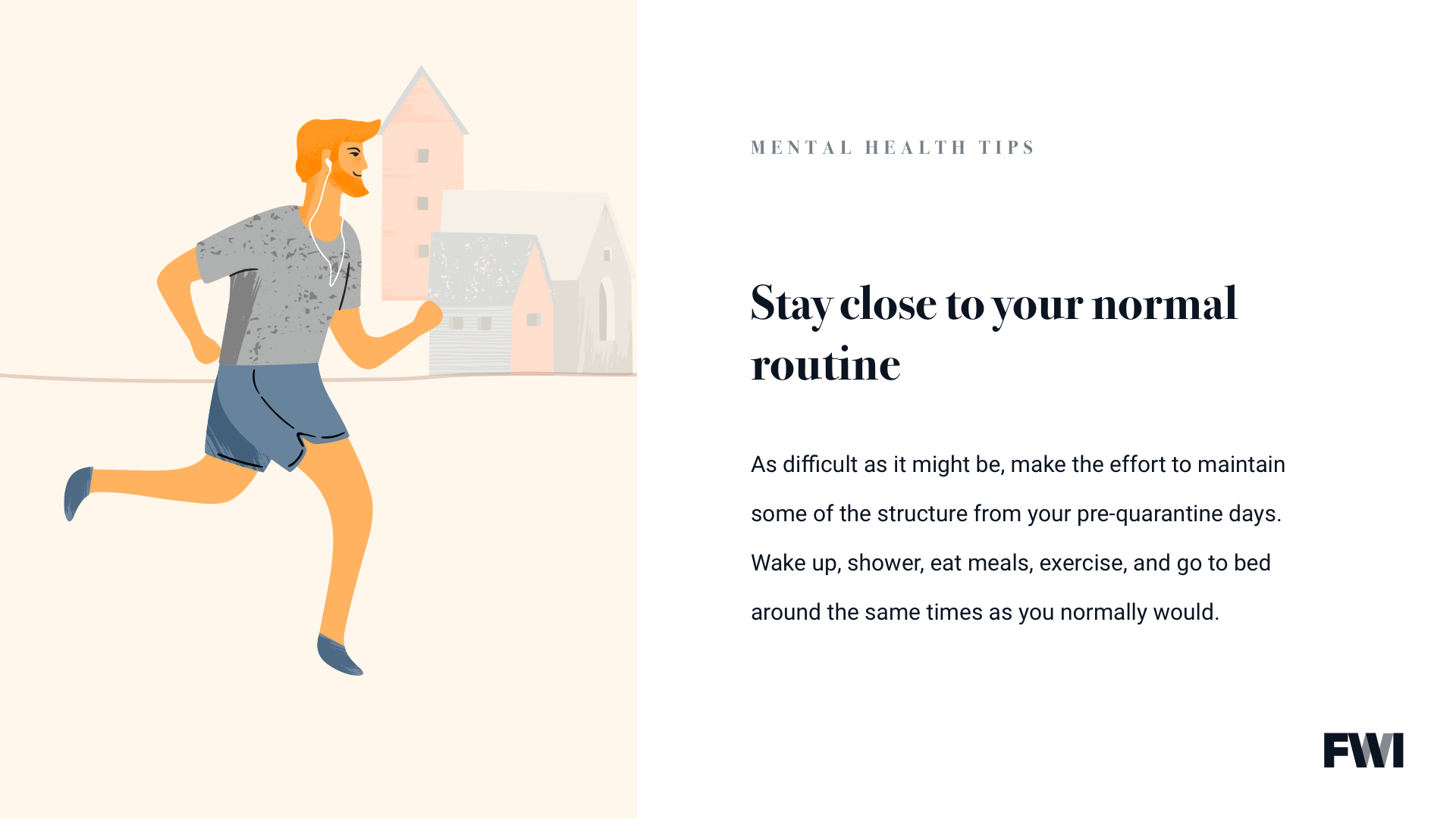 Creating routine for mental health horizontal content download