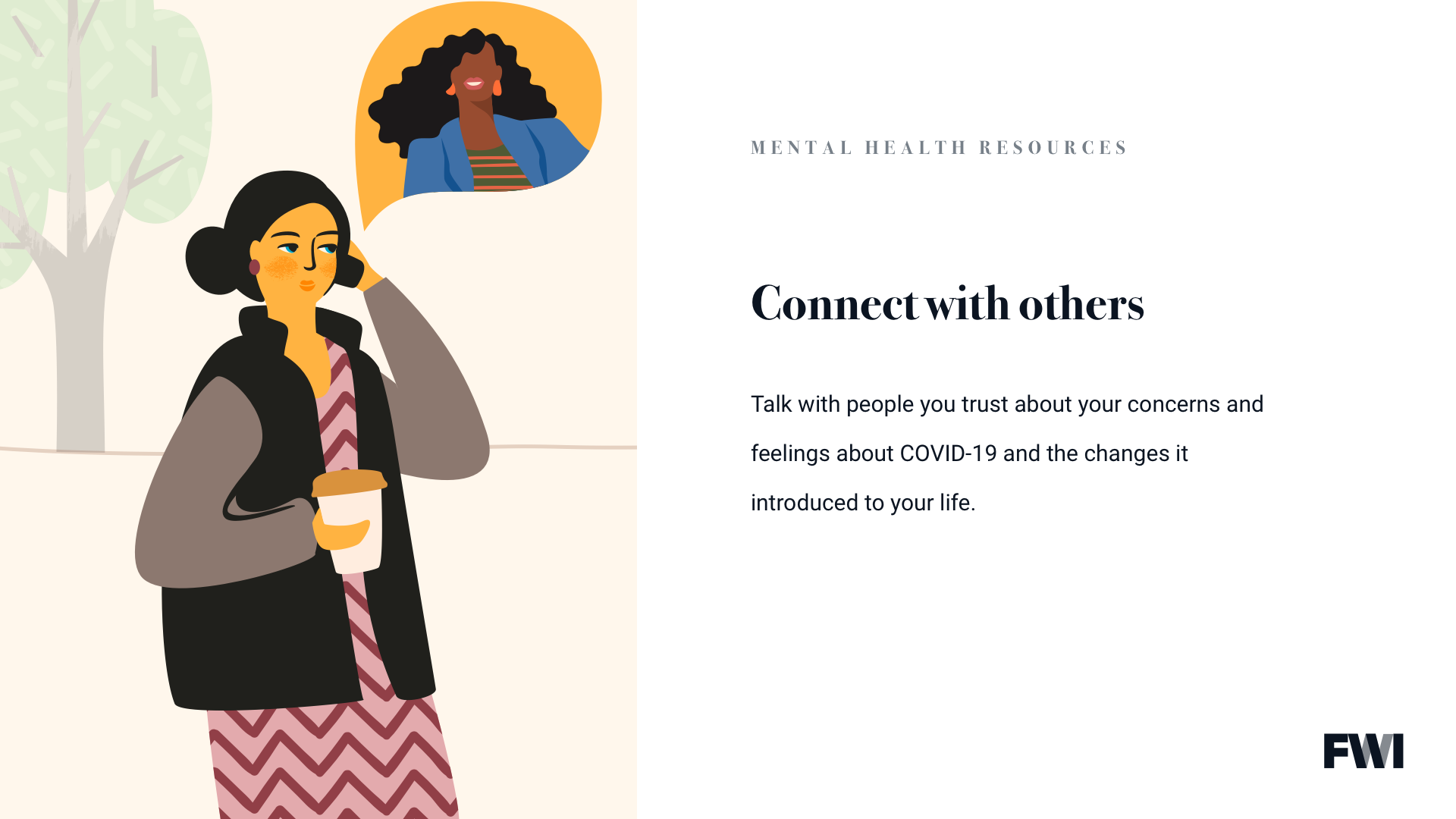 Connecting with others mental health tip horizontal content download