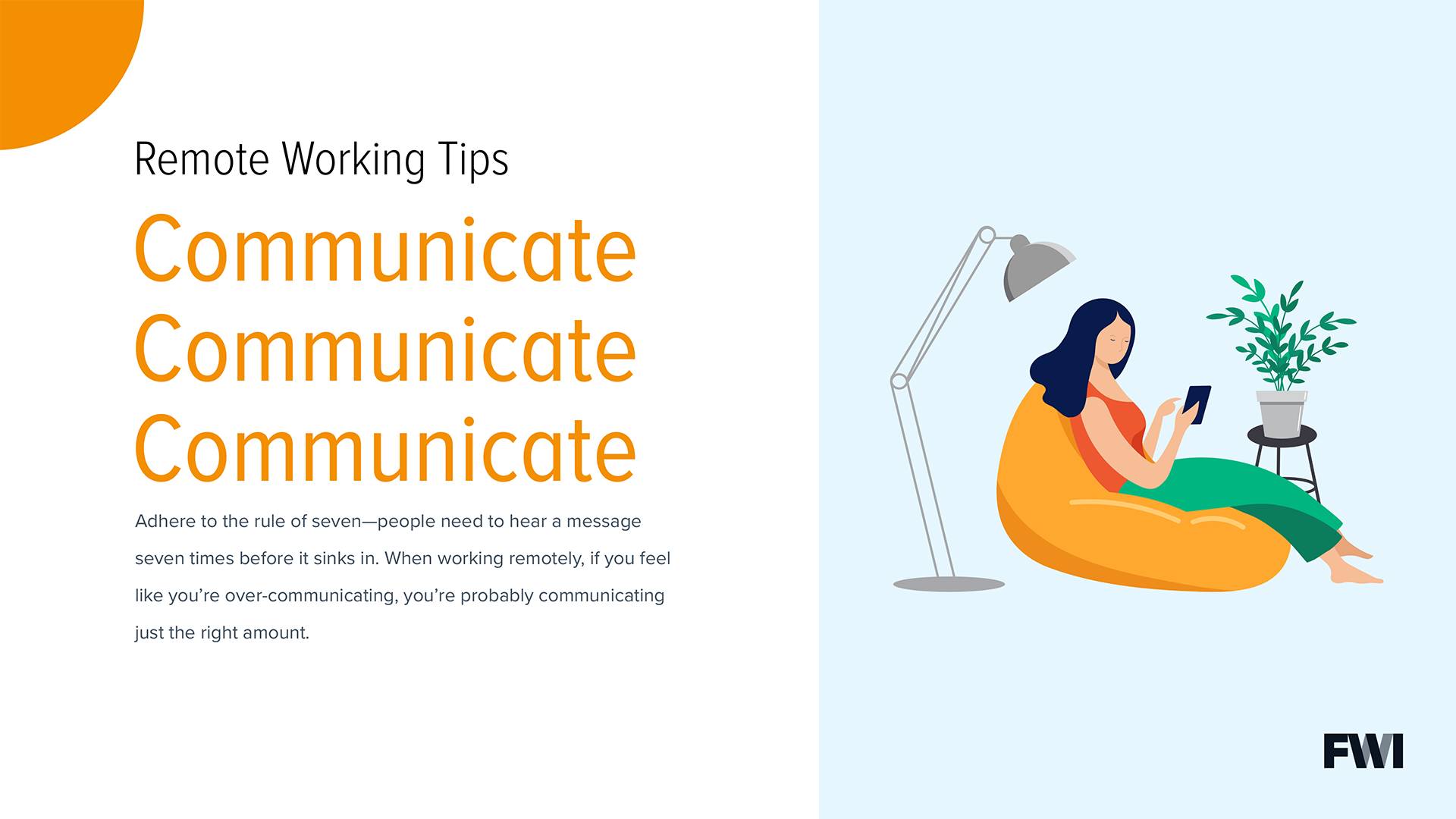 Remote work communication tip horizontal content download