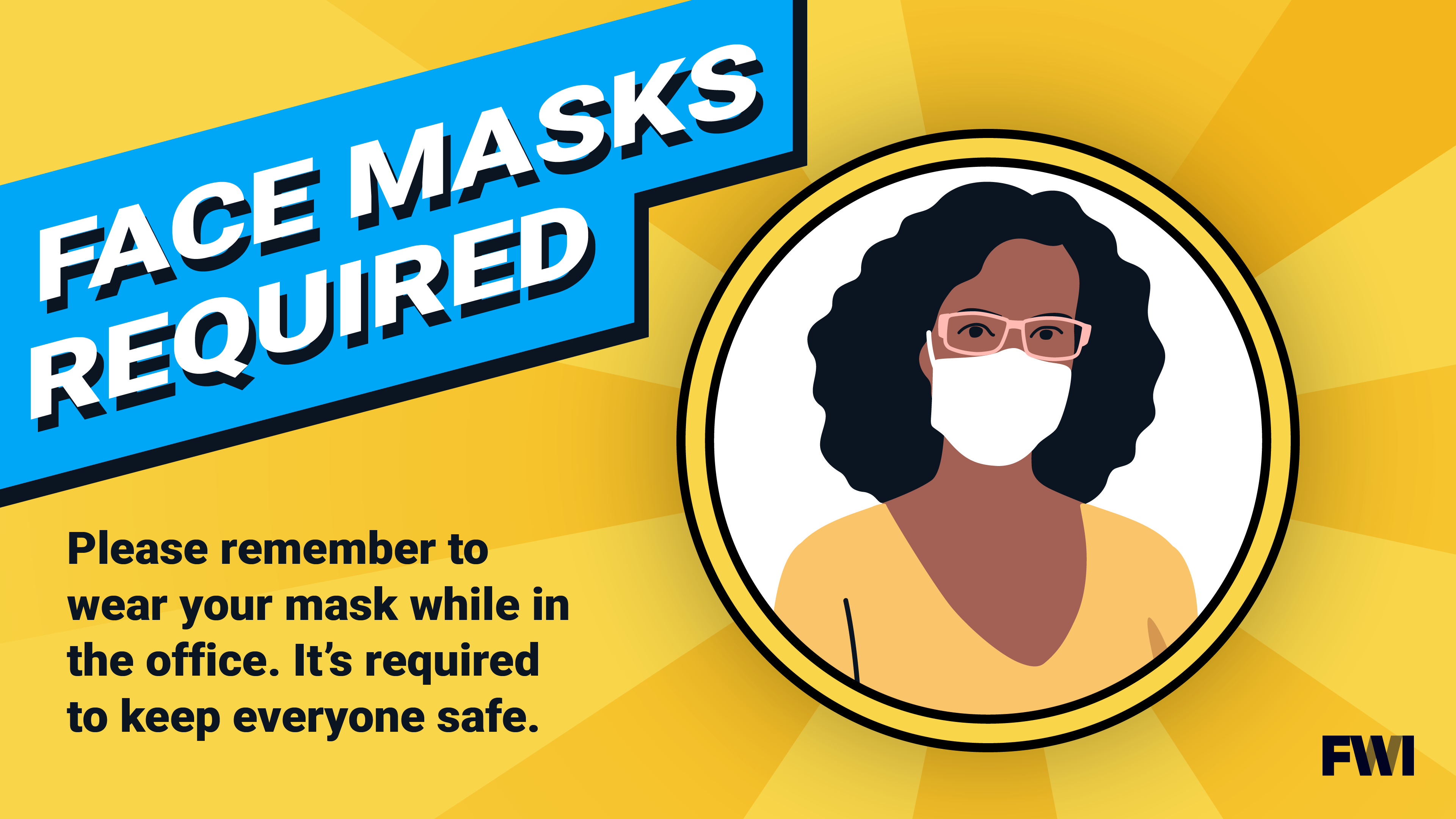 face mask required in office, image of female, horizontal content download