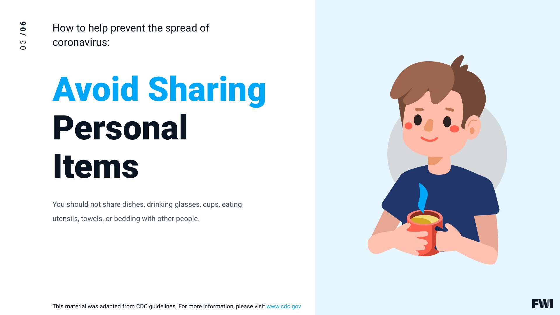 COVID prevention avoid sharing personal items horizontal content download