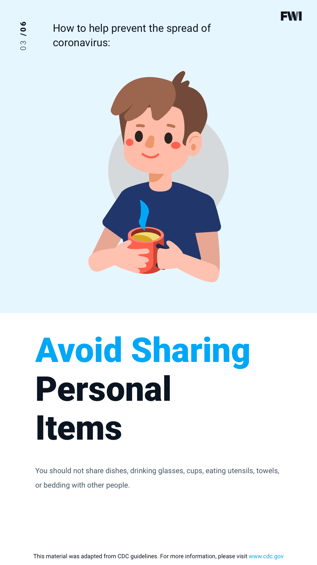 COVID prevention avoid sharing personal items vertical content download